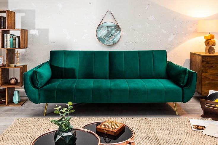 Retro Schlafsofa DIVANI 215cm smaragdgrün Samt goldene Füße Bettfunktion 3er Sofa