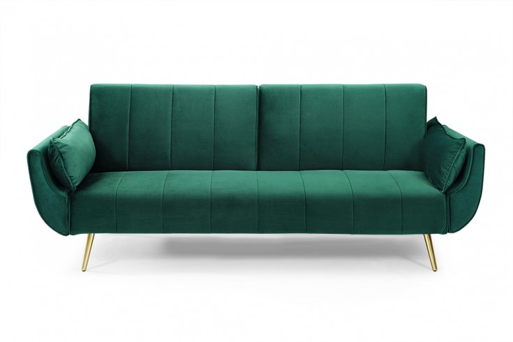 Design Schlafsofa DIVANI 215cm smaragdgrün goldene Füße Samt Bettfunktion Retro Design