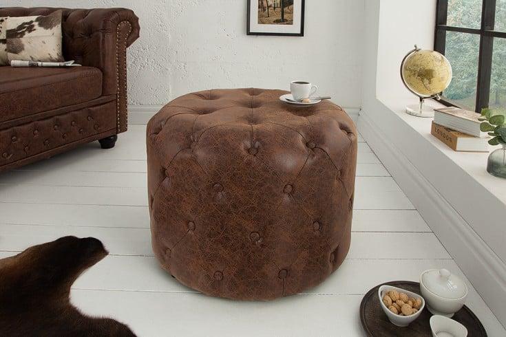 Eleganter Chesterfield Hocker 60cm vintage braun rund Couchtisch