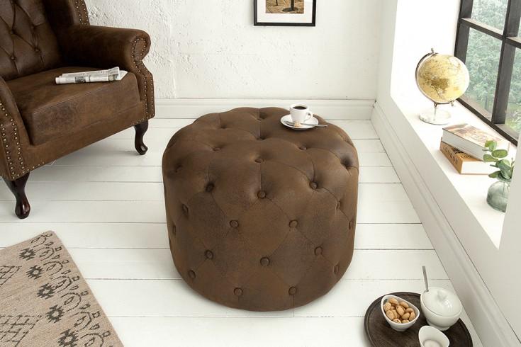 Eleganter Chesterfield Hocker 60cm antik braun rund Couchtisch