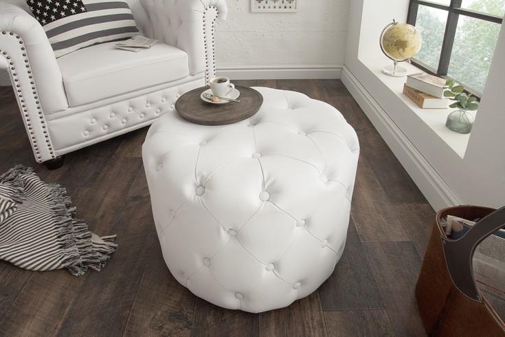 Eleganter Chesterfield Hocker 60cm matt weiß rund Couchtisch