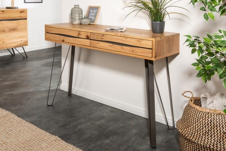 Massive Konsole LIVING EDGE 120cm Wildeiche geölt Baumkanten Schreibtisch