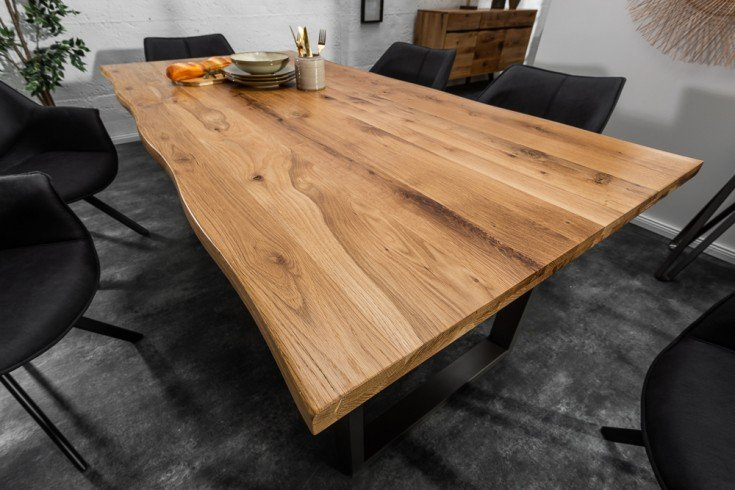 Massiver Baumkanten Esstisch LIVING EDGE 200cm Wildeiche geölt 3,5cm Tischplatte
