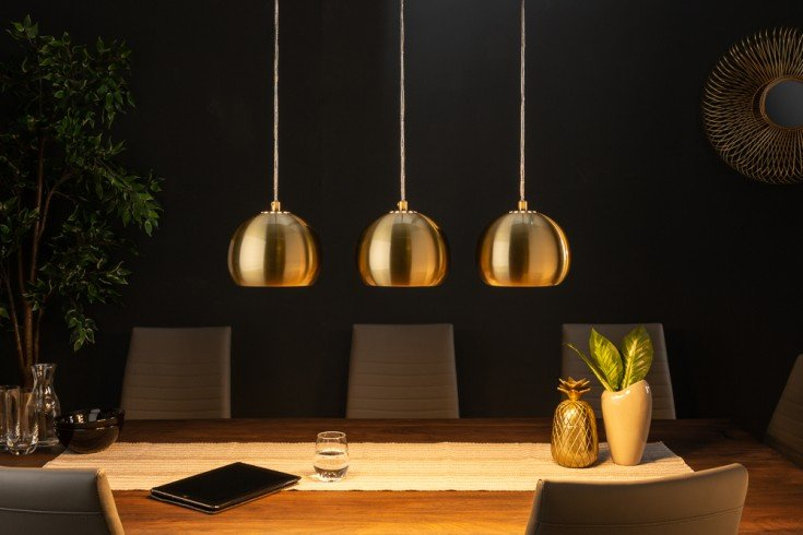 Moderne 3er Hängeleuchte GOLDEN BALL gold Hängelampe höhenverstellbar