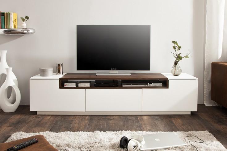 Modernes Media TV-Lowboard LOFT 180cm edelmatt weiß Walnussholz-Optik