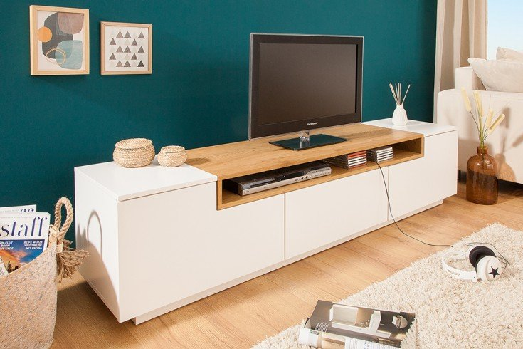 Modernes Media TV-Lowboard LOFT 180cm edelmatt weiß Eichenholz-Optik