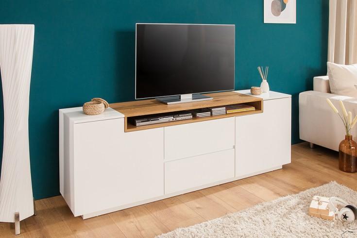 Modernes Media TV-Board LOFT 180cm edelmatt weiß Eichenholz-Optik