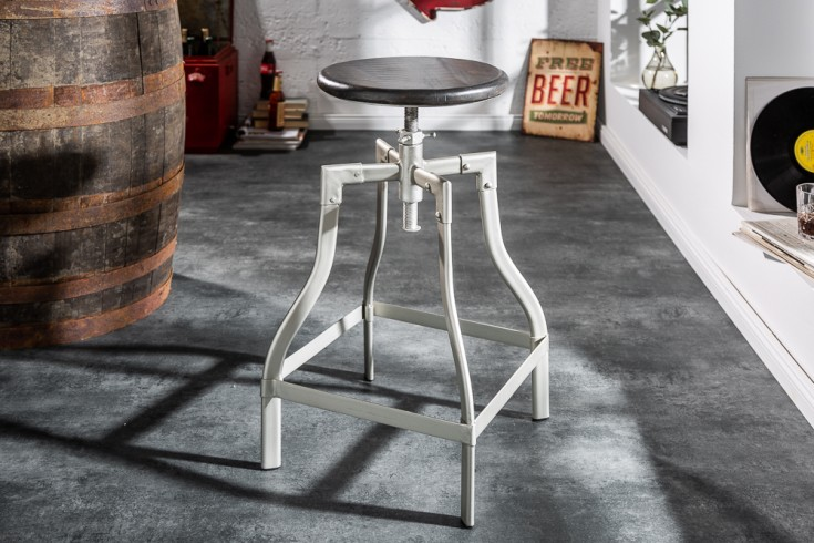 Authentischer Barstuhl IRON CRAFT 33cm grau Mangoholz Industrial Style