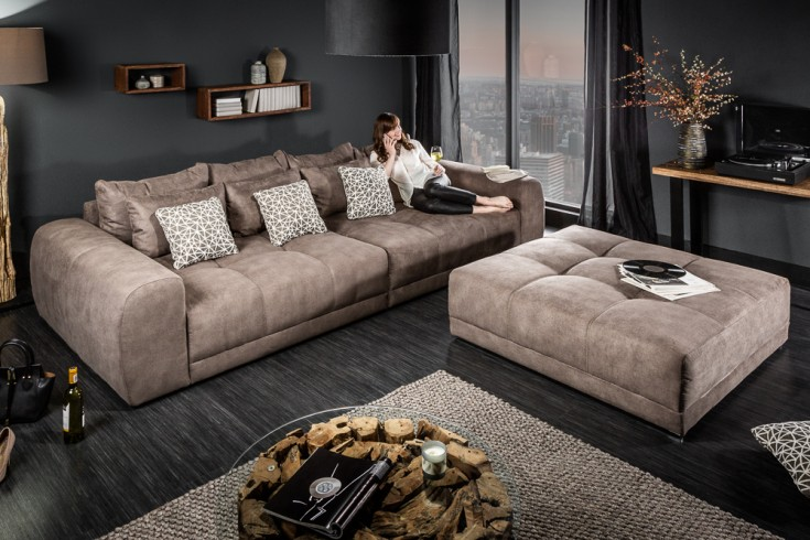 Modernes XXL Sofa GIANT LOUNGE 300cm taupe inkl. Kissen