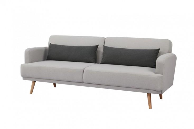 Elegantes 3-Sitzer Sofa STUDIO 214cm grau inkl. Kissen mit Schlaffunktion