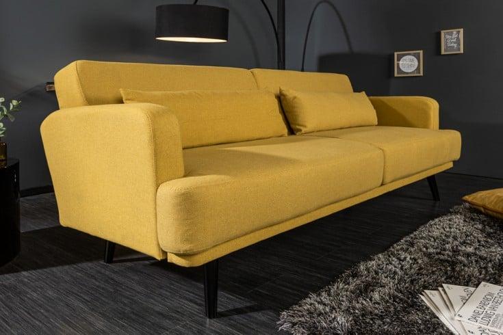 Elegantes 3-Sitzer Sofa STUDIO 210cm senfgelb inkl. Kissen mit Schlaffunktion