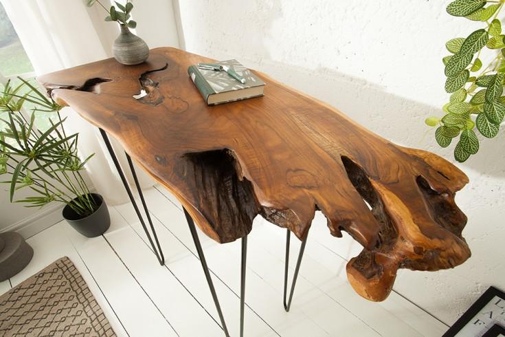 Massiver Konsolen Tisch WILD 95cm Teak Massivholz Baumscheibe Hairpin Legs