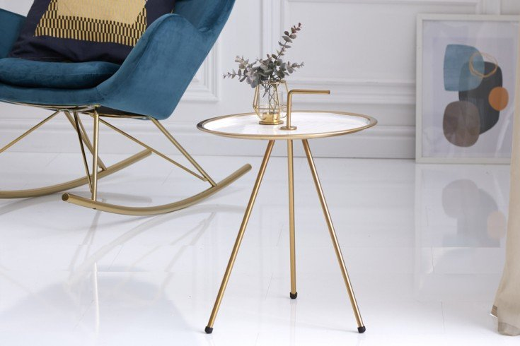 Eleganter Beistelltisch SIMPLY CLEVER 42cm weiß gold mit Griff Retro Stil