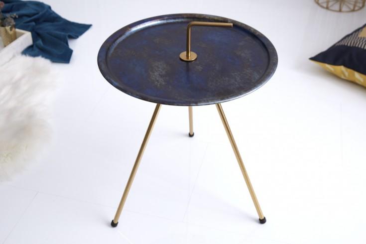 Eleganter Beistelltisch SIMPLY CLEVER 42cm blau gold mit Griff Retro Stil
