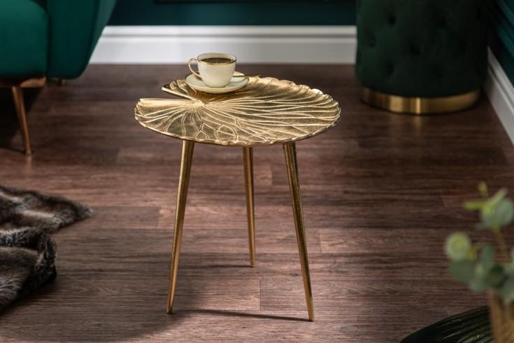 Eleganter Beistelltisch GOLD LEAF 40cm gold im Seerosen-Blatt Design