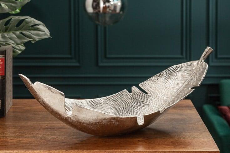 Design Deko Schale SILVER LEAF 62cm silber im Blatt Design