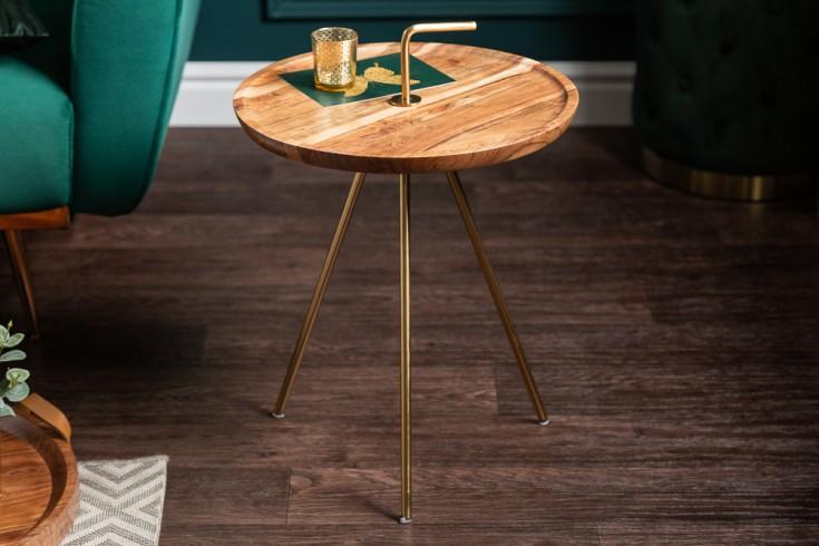 Handgearbeiteter Beistelltisch SIMPLY CLEVER 41cm Akazienholz gold mit Griff