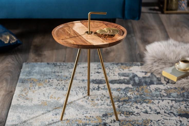 Handgearbeiteter Beistelltisch SIMPLY CLEVER 36cm Akazienholz gold mit Griff