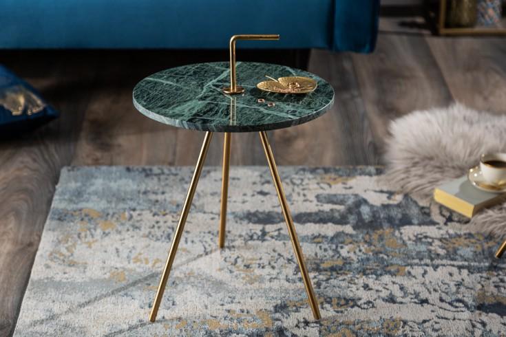 Handgearbeiteter Beistelltisch SIMPLY CLEVER 36cm grün gold Marmor mit Griff