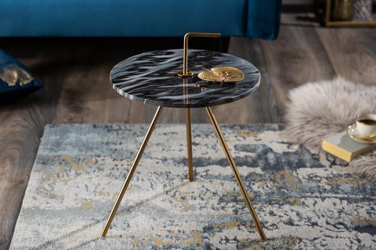 Handgearbeiteter Beistelltisch SIMPLY CLEVER 36cm grau gold Marmor mit Griff