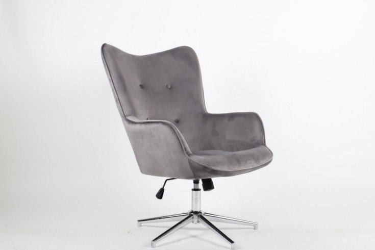 Eleganter Dreh Sessel MR. LOUNGER grau Samt höhenverstellbar