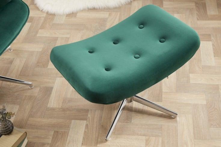 Eleganter Hocker MR. LOUNGER smaragdgrün Samt mit Chromgestell