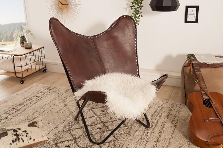 Retro Lounge Sessel BUTTERFLY braun mit Echtlederbezug schwarzes Gestell