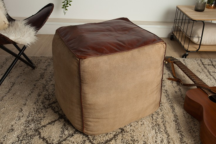 Retro Sitzpouf MUSTANG 53cm Lederbezug mit Leinen Sitzwürfel