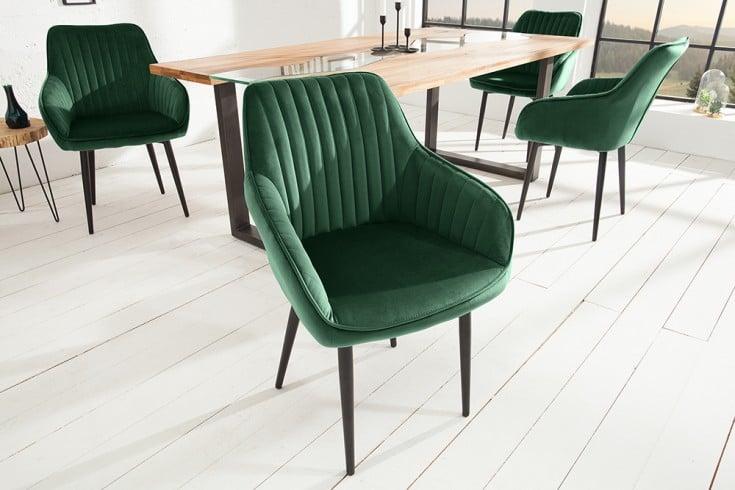 Edler Armlehnen Stuhl TURIN smaragdgrün Samt mit Ziersteppung
