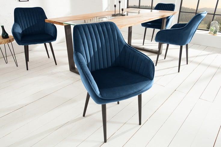 Edler Armlehnen Stuhl TURIN königsblau Samt mit Ziersteppung