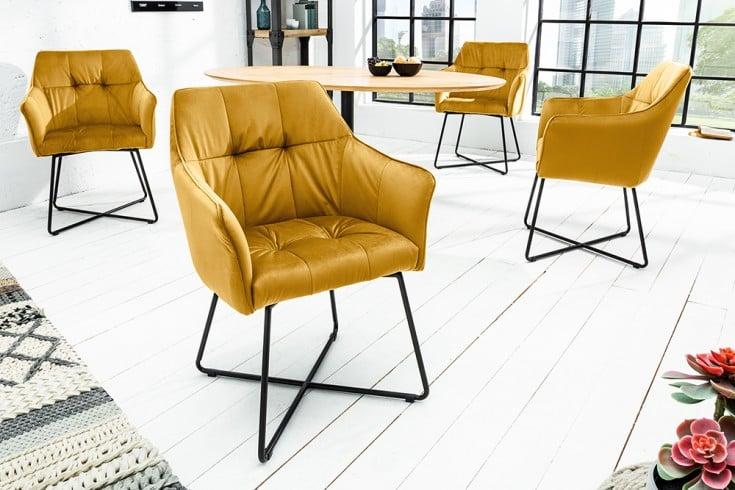 Exklusiver Design Stuhl LOFT senfgelb Samt mit Armlehne