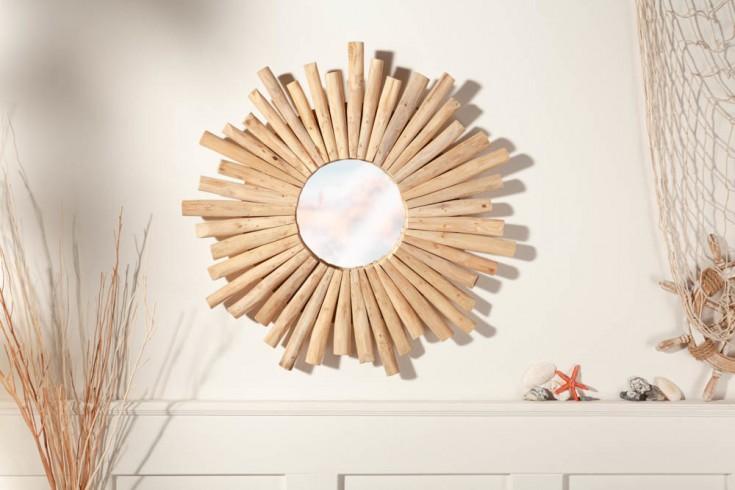 Handgearbeiteter Spiegel RIVERSIDE 60cm natur Teakholz Wandspiegel