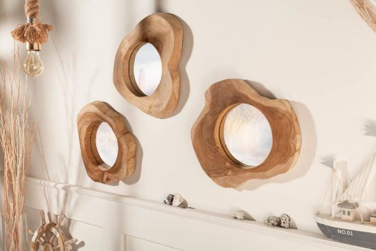 Handgearbeiteter Spiegel REFLECT 31cm natur Teakholz Wandspiegel