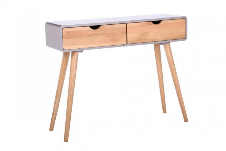 Retro Konsole SCANDINAVIA 100cm grau Eiche Schreibtisch mit 2 Schubladen