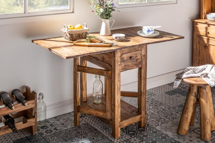 Eleganter Klapptisch HEMINGWAY 119cm Mahagoni mit Schubladen Küchentisch