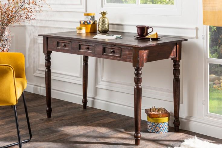 Eleganter Schreibtisch HEMINGWAY 120cm braun Mahagoni mit Schubladen Esstisch
