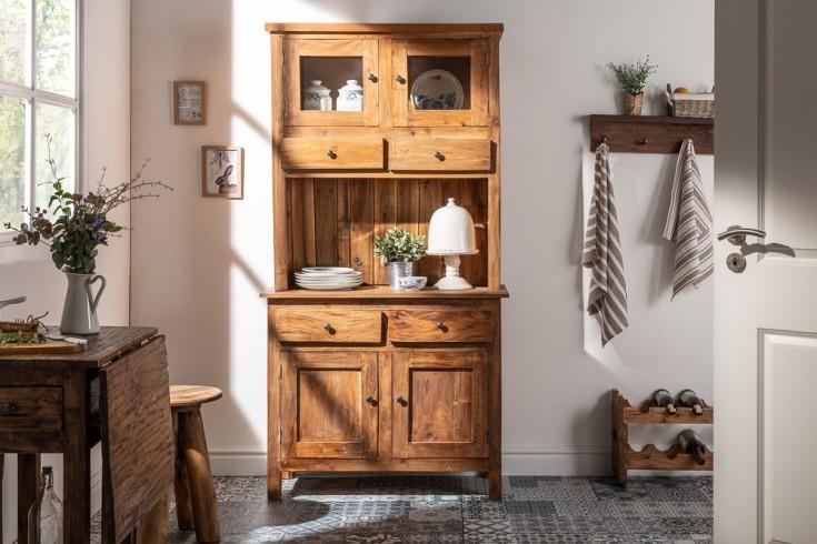 Eleganter Küchenschrank HEMINGWAY 175cm Mahagoni mit Schubladen Vitrine