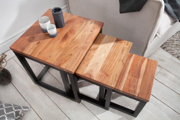 Design Beistelltisch 3er Set ELEMENTS 43cm Akazienholz mit schwarzem Eisengestell