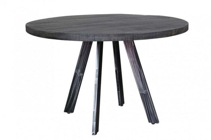 Massiver Esstisch IRON CRAFT 120cm rund grau Mangoholz geflexte Beine