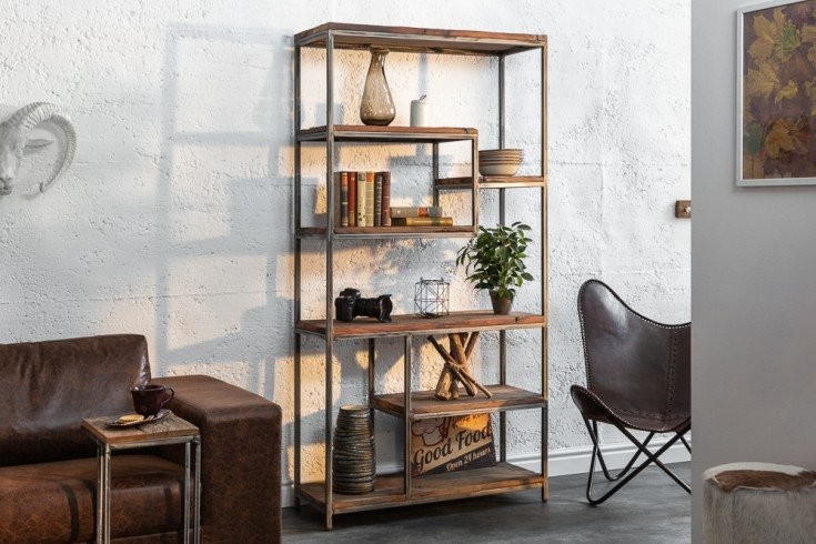 Industrial Bücherregal BARRACUDA 186cm Salholz geflextes Gestell