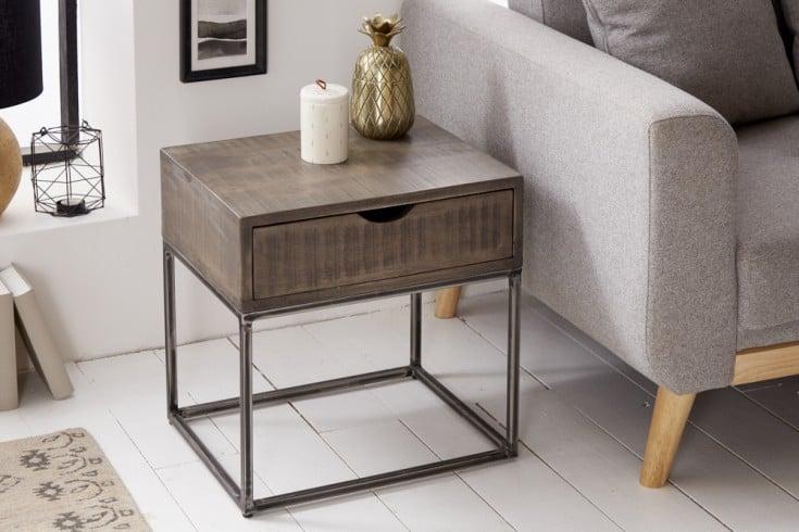 Industrial Nachttisch IRON CRAFT 45cm grau Akazienholz mit Schublade Beistelltisch
