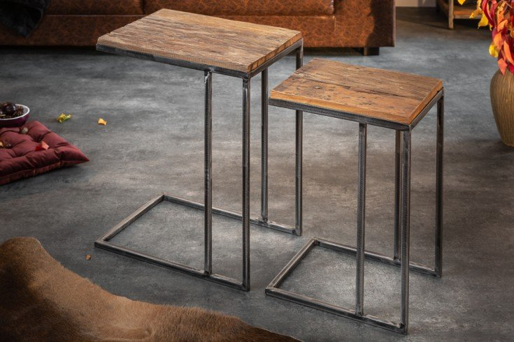 Industrial 2er Set Beistelltische BARRACUDA 45cm Salholz mit geflexten Beinen