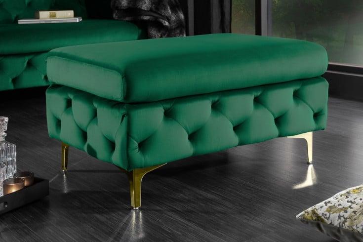 Chesterfield Sitzhocker MODERN BAROCK 90cm smaragdgrün Samt Fußhocker