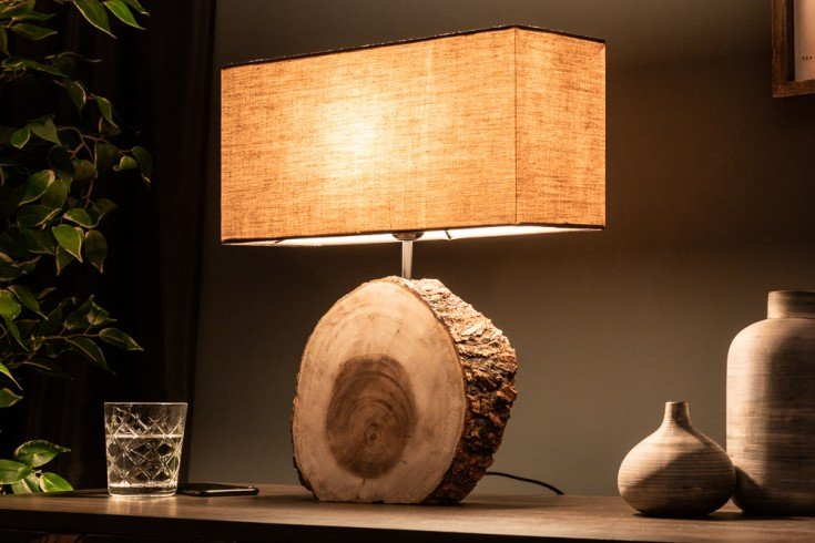 Natürliche Tischlampe PURE NATURE 46cm Walnussholz mit Baumwollschirm