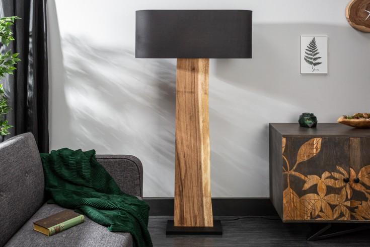 Natürliche Stehlampe ORGANIC LIVING 163cm schwarz Walnussholz mit Leinenschirm