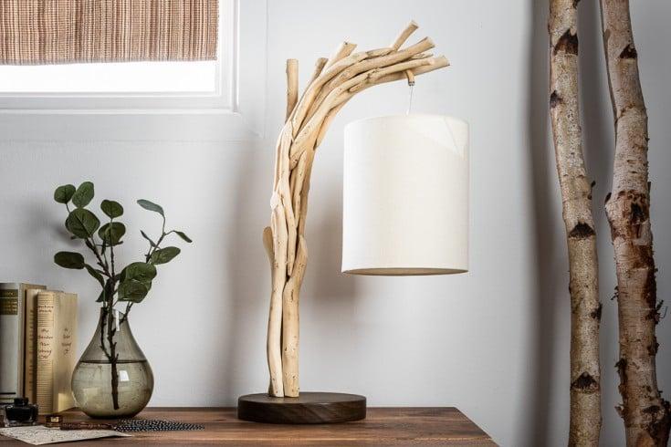 Handgefertige Tischlampe WILD NATURE 60cm Treibholz mit Baumwollschirm