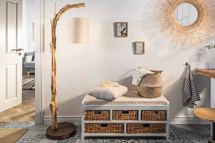 Handgefertige Stehlampe WILD NATURE 161cm Treibholz mit Baumwollschirm