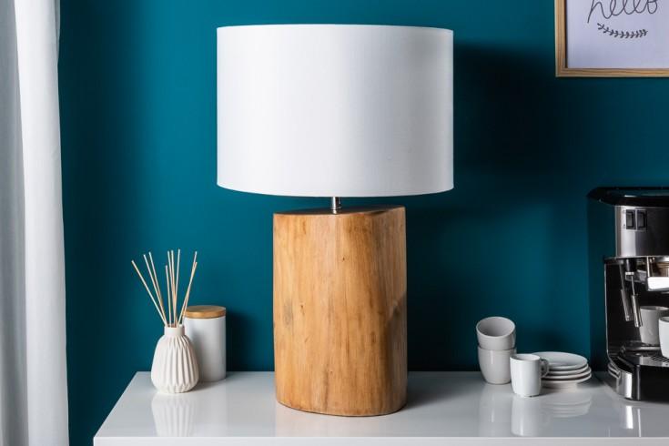Natürliche Tischlampe PURE NATURE 60cm Mahagoni mit Leinenschirm