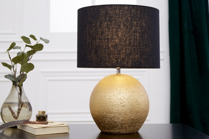Elegante Tischlampe ELEGANCIA 43cm gold schwarz Jute Schirm