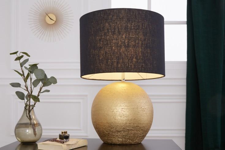 Elegante Tischlampe ELEGANCIA 57cm gold schwarz Jute Schirm